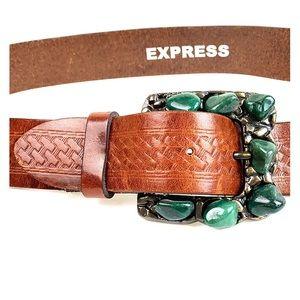 Vtg. boho western rugged belt + stones fits 34 EUC